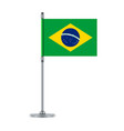 brazilian flag on the metallic pole vector image vector image