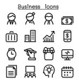 business management icon set in thin line style vector image vector image