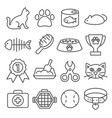 cat line icons set on white background vector image vector image