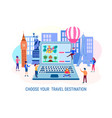 characters choose a tourist destination vector image vector image