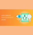 Check your eyes banner horizontal cartoon style
