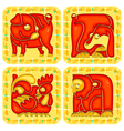 Chinese horoscope animal set vector image vector image