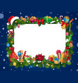 christmas gifts garland with blank card in center vector image vector image
