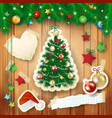 christmas with tree and paper elements vector image vector image