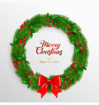 christmas wreath fir branches decorated with vector image