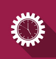 clock gear icon isolated with long shadow vector image vector image
