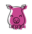 color cute pig female wild animal vector image vector image