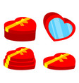 colorful cartoon red heart box set vector image