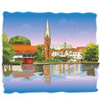 colorful view on church of st mary in lubeck vector image vector image