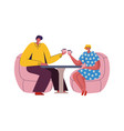 couple in cafe cartoon man and woman sitting vector image