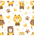 cute adorable brown bears seamless pattern vector image vector image