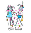 cute card with best friends bakitten and bunny vector image vector image