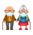 cute elderly couple grandfather grandmother vector image vector image