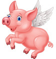 cute pig cartoon flying on white background vector image vector image