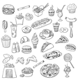 doodle icon fast food vector image vector image