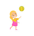 Girl playing with a ball kid on a playground vector image