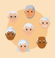 gransparents faces cartoon vector image