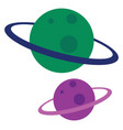 green and purple planet on white background vector image