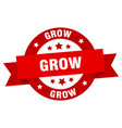grow ribbon grow round red sign grow vector image vector image