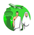 Hajj Couple And Airport Background vector image vector image