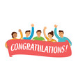 happy group people holding big placard vector image vector image