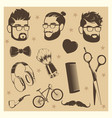 hipster elements set - male heads scissors vector image vector image