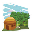 hut in the forest vector image