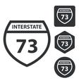 Interstate 73 icon set monochrome vector image