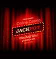 jackpot retro banner with burning lamps vector image vector image