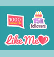 like me followers numbers and cake set vector image vector image