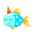 lovely fish wearing party hat cute little sea vector image vector image