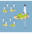 Low poly white lighthouse vector image vector image