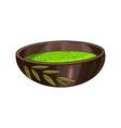 matcha green tea organic powder and bowl chawan vector image vector image
