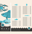 menu for seafood restaurant with price list vector image vector image
