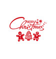 merry christmas handwritten text red silhouette vector image vector image