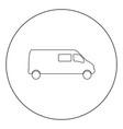 minibus icon black color in circle vector image