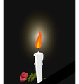 Mourning Mourning figure white candle and flowers vector image vector image