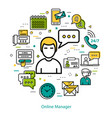online manager - line round concept vector image vector image