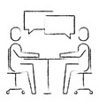 people business sitting speech bubble talking vector image