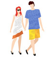people in summer cloth walking together isolated vector image