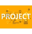 Project concept flat line design with icons and vector image