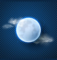 realistic full moon isolated on transparent vector image vector image