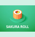 sakura roll isometric icon isolated on color vector image vector image