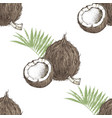 seamless pattern with hand drawn coconut with half vector image vector image