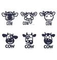set funny cow head logo templates vector image vector image