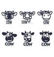 Set of funny cow head logo templates vector image vector image