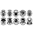 set vintage different skulls on white vector image vector image