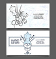 sewing and cutting of business cards vector image vector image