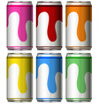 six cans with different colors vector image vector image