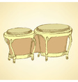 Sketch bongos musical instrument vector image vector image